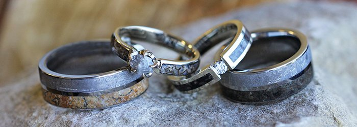 Dinosaur bone wedding rings, Los Angeles wedding officiant s