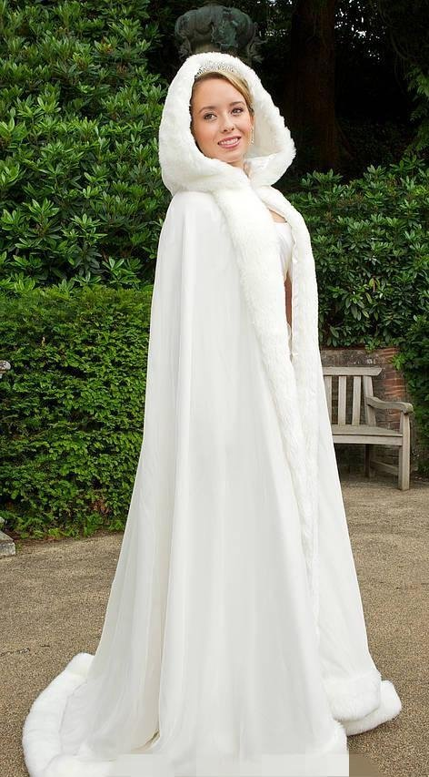 Fur trimmed wedding cape